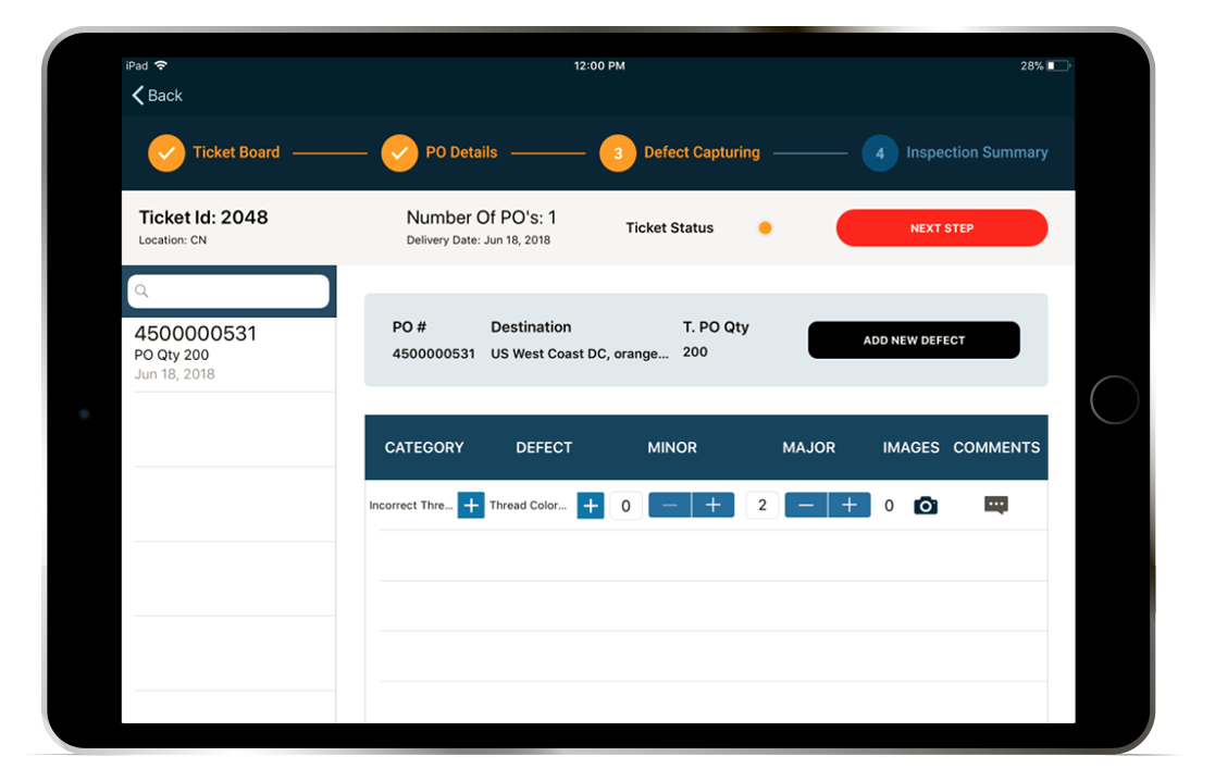 Enable quality inspectors to keep track of their tickets.